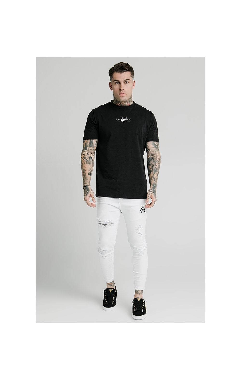 Load image into Gallery viewer, SikSilk Distressed Prestige Skinny Denims - White (4)