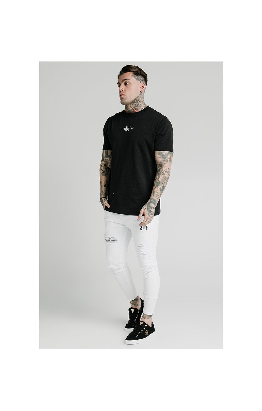 Load image into Gallery viewer, SikSilk Distressed Prestige Skinny Denims - White (5)