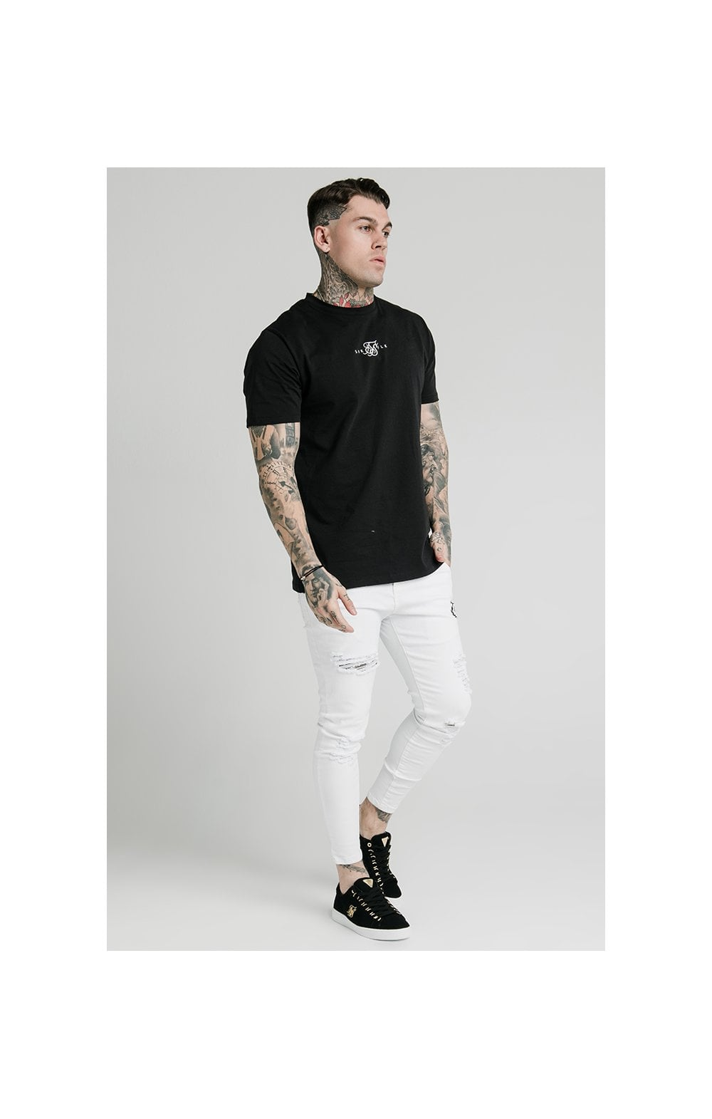 Load image into Gallery viewer, SikSilk Distressed Prestige Skinny Denims - White (6)
