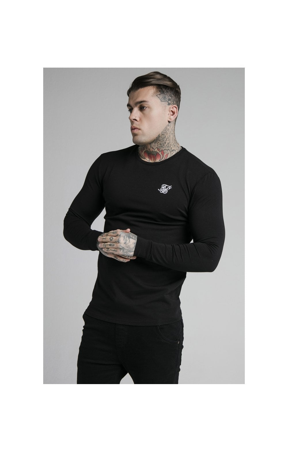 SikSilk L/S Straight Hem Gym Tee – Black