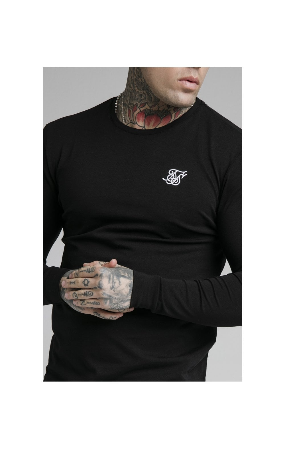 SikSilk L/S Straight Hem Gym Tee – Black (1)