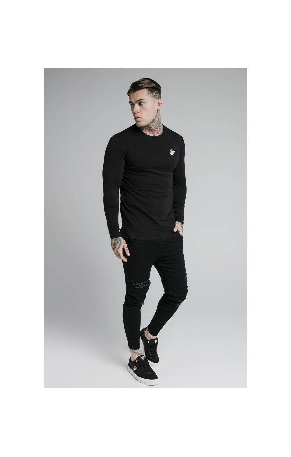 SikSilk L/S Straight Hem Gym Tee – Black (2)