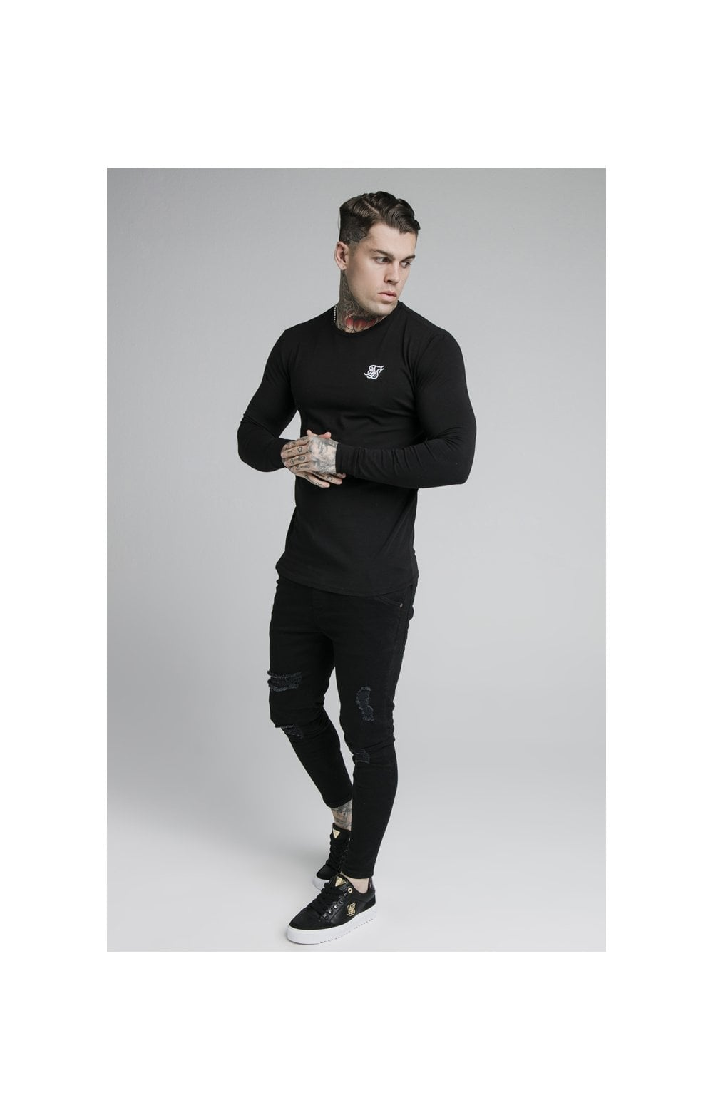 SikSilk L/S Straight Hem Gym Tee – Black (3)