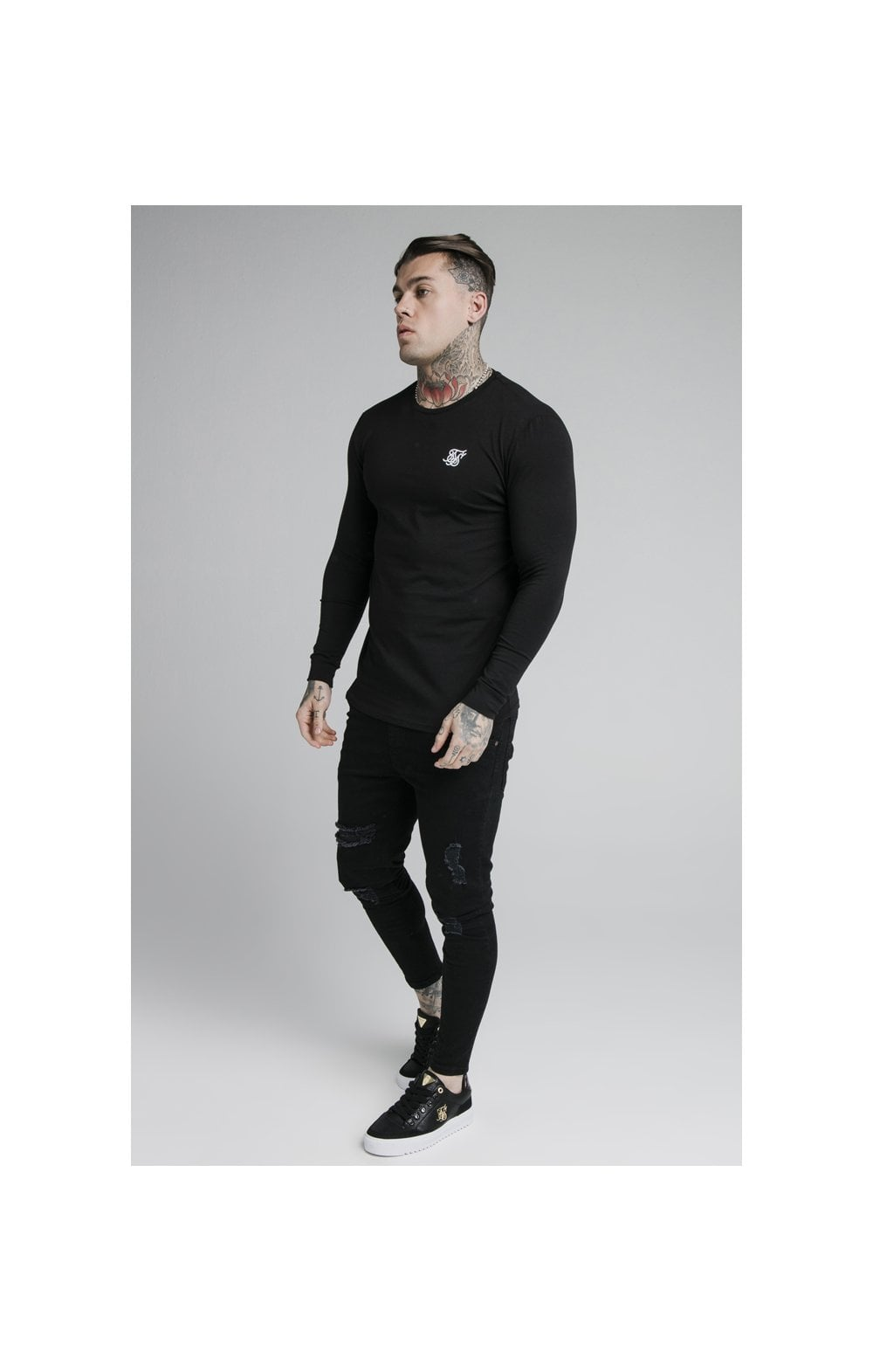 SikSilk L/S Straight Hem Gym Tee – Black (4)