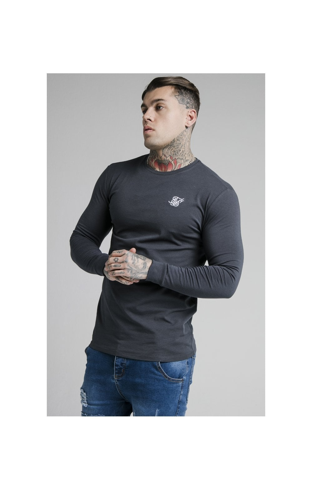 SikSilk L/S Straight Hem Gym Tee – Navy