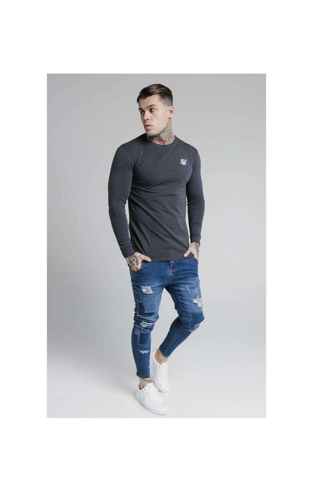 SikSilk L/S Straight Hem Gym Tee – Navy (2)