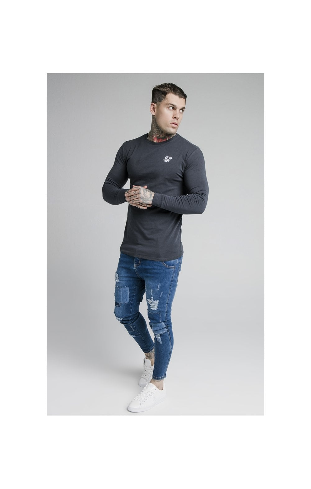SikSilk L/S Straight Hem Gym Tee – Navy (3)