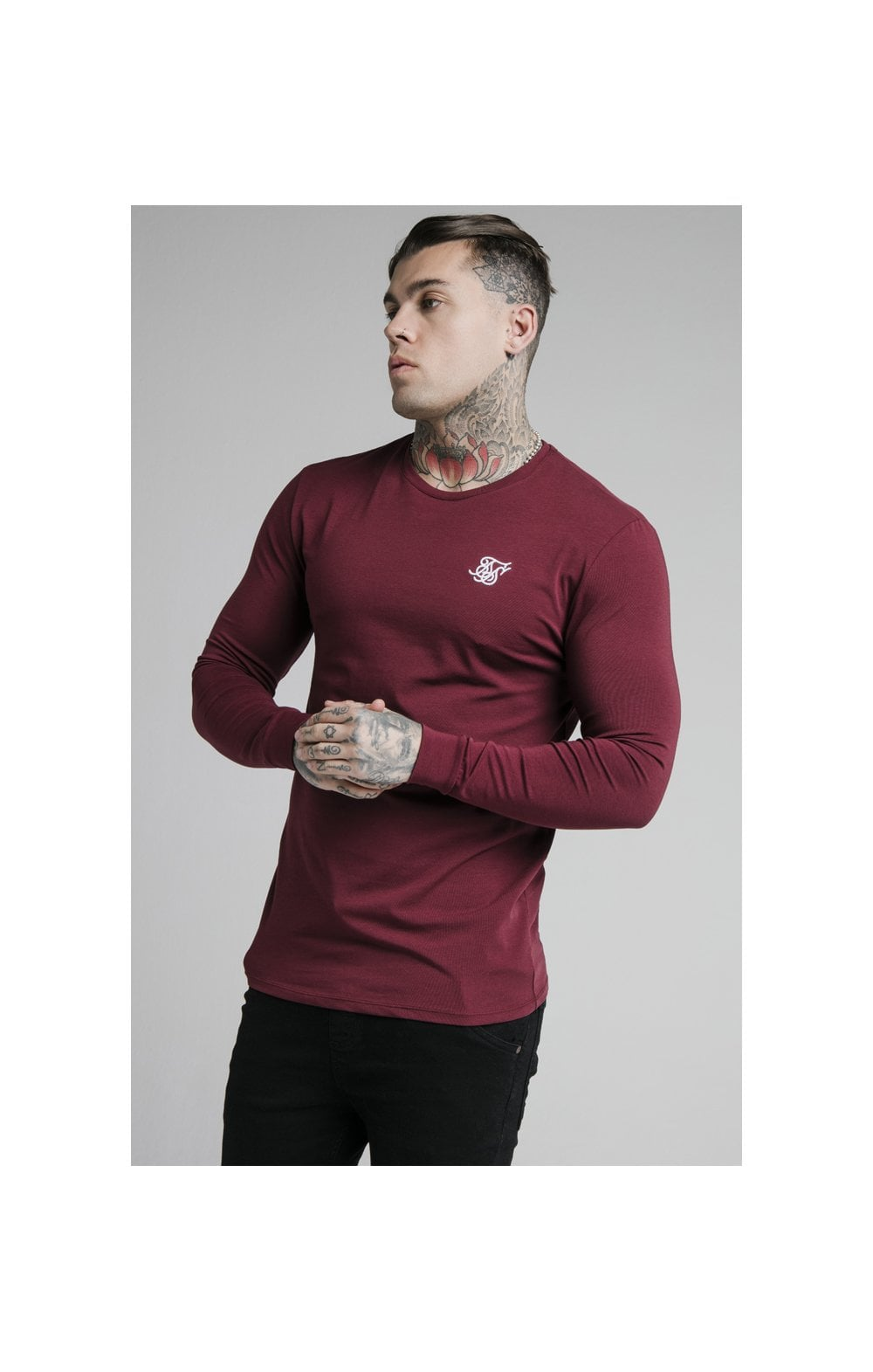 Load image into Gallery viewer, SikSilk L/S Straight Hem Gym Tee – Burgundy