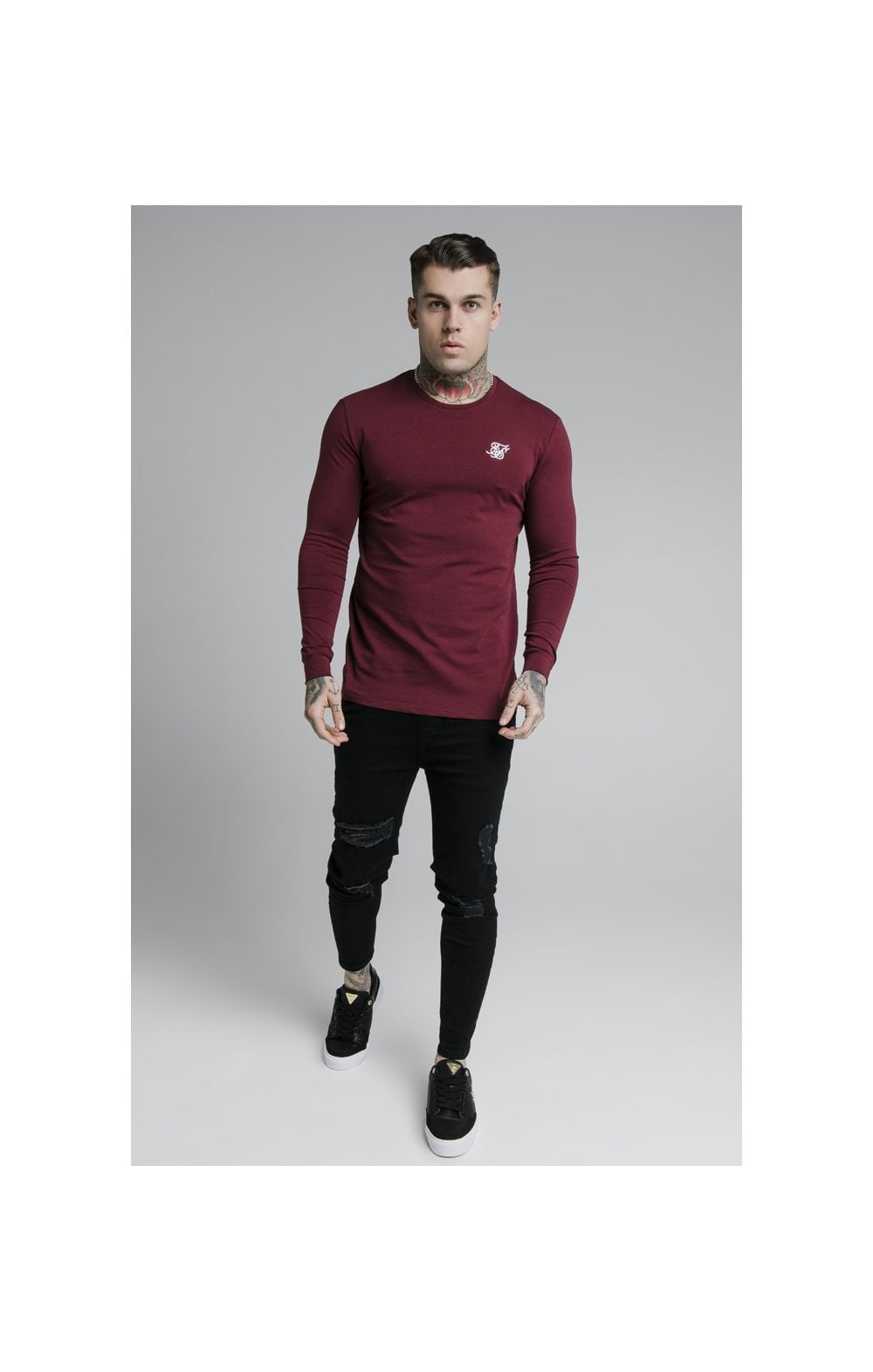 Load image into Gallery viewer, SikSilk L/S Straight Hem Gym Tee – Burgundy (1)