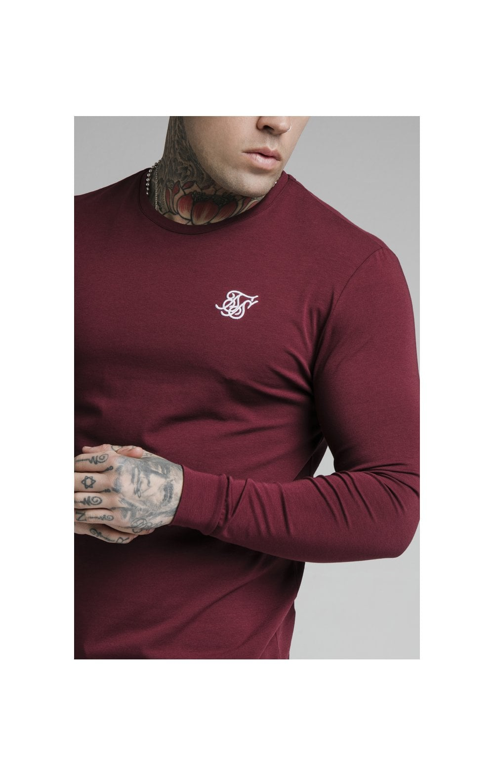 Load image into Gallery viewer, SikSilk L/S Straight Hem Gym Tee – Burgundy (2)