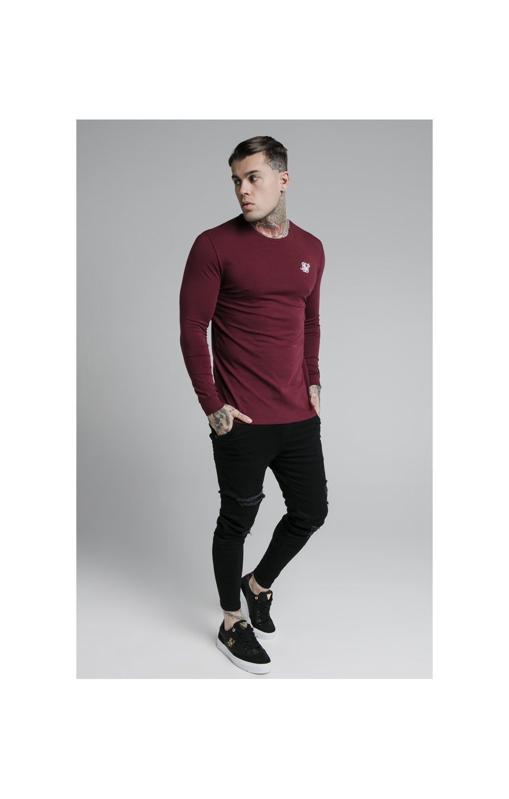 Load image into Gallery viewer, SikSilk L/S Straight Hem Gym Tee – Burgundy (3)