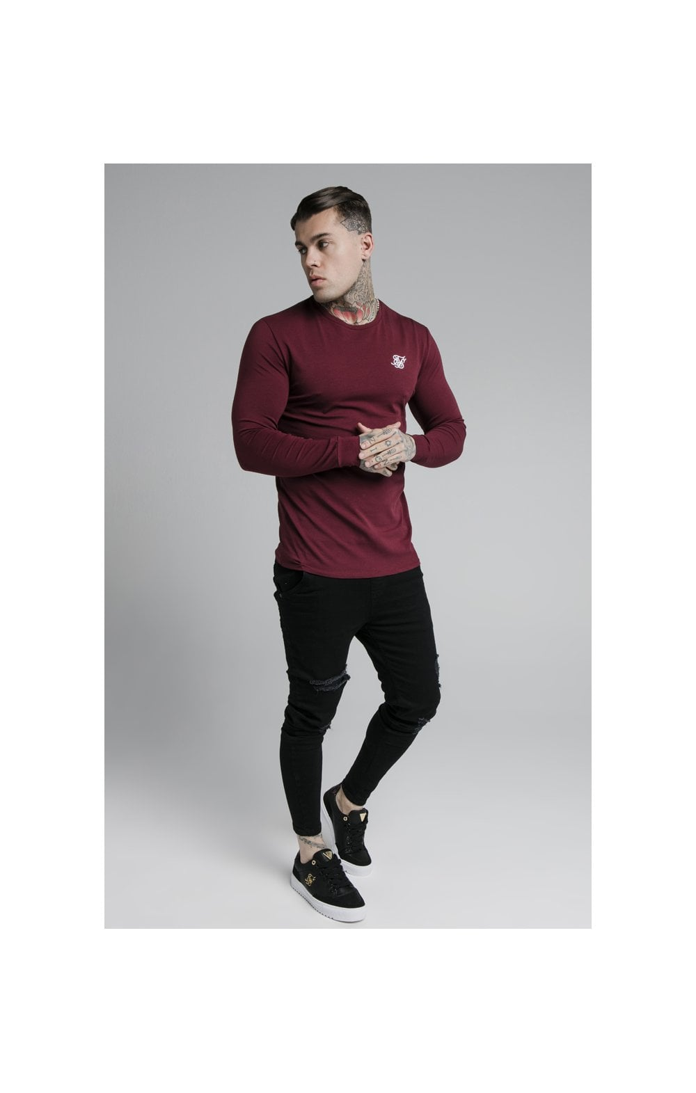 Load image into Gallery viewer, SikSilk L/S Straight Hem Gym Tee – Burgundy (4)