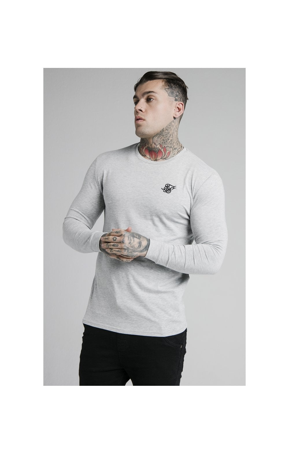 Load image into Gallery viewer, SikSilk L/S Straight Hem Gym Tee – Grey Marl