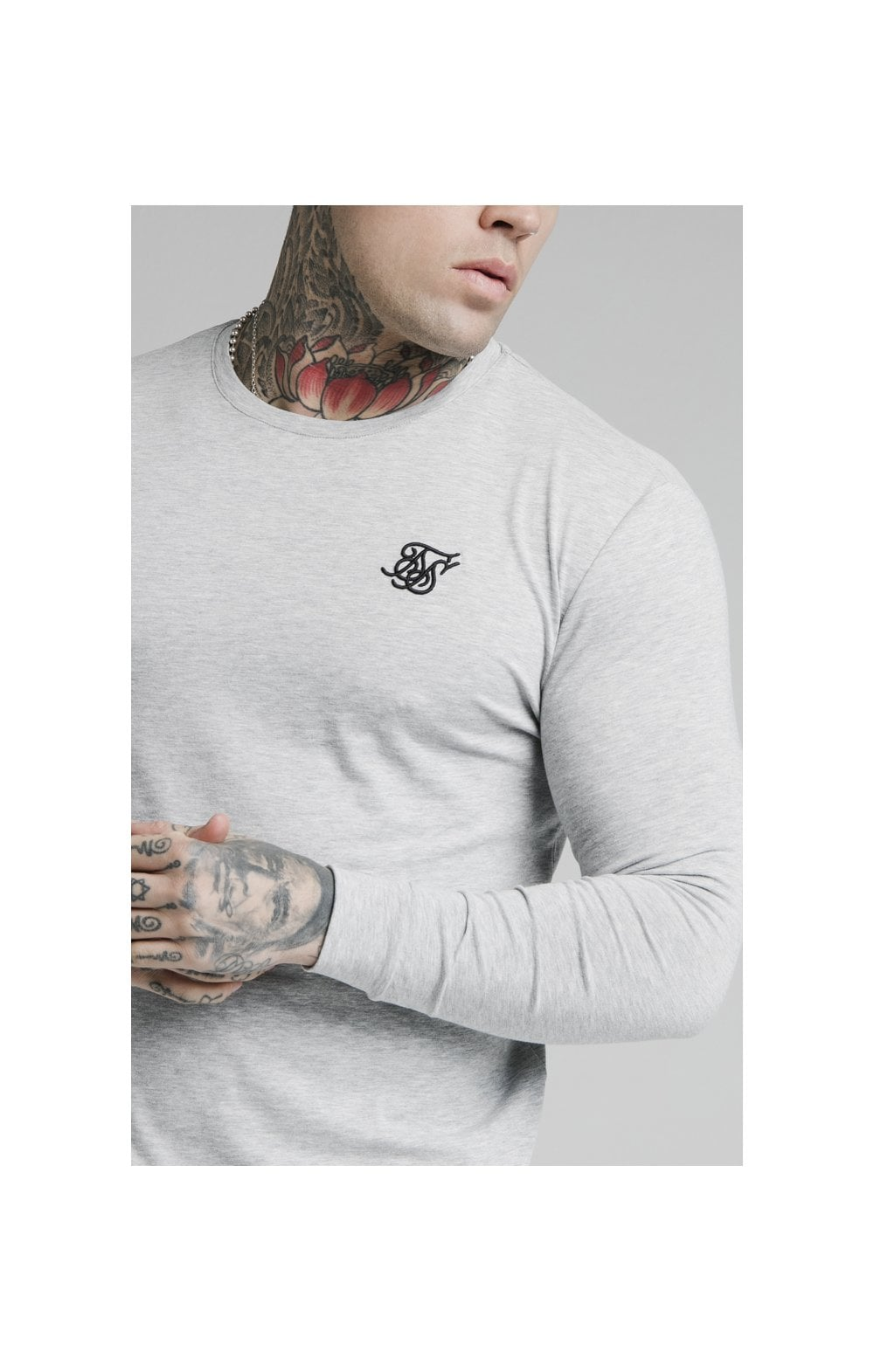 Load image into Gallery viewer, SikSilk L/S Straight Hem Gym Tee – Grey Marl (1)