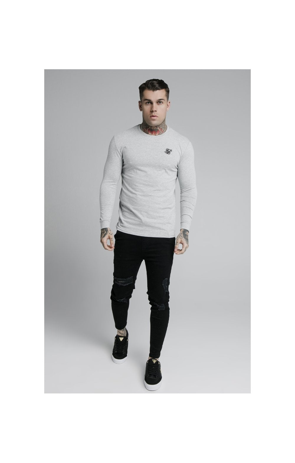 Load image into Gallery viewer, SikSilk L/S Straight Hem Gym Tee – Grey Marl (2)