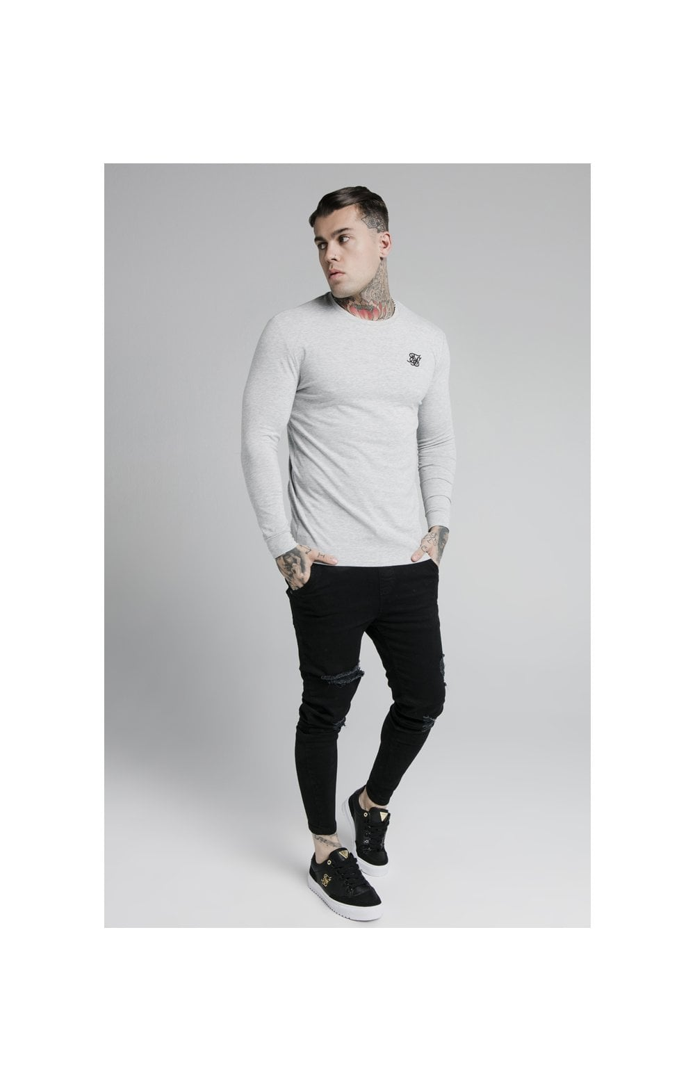 Load image into Gallery viewer, SikSilk L/S Straight Hem Gym Tee – Grey Marl (3)