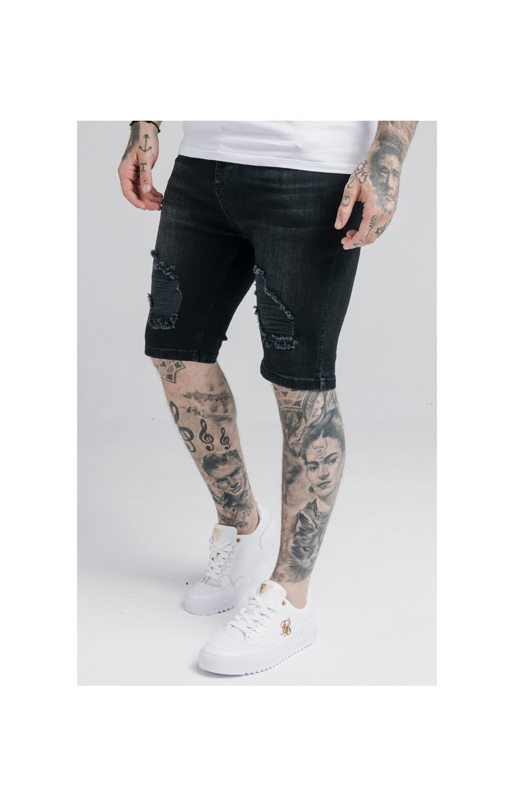 SikSilk Distressed Denim Shorts – Washed Black