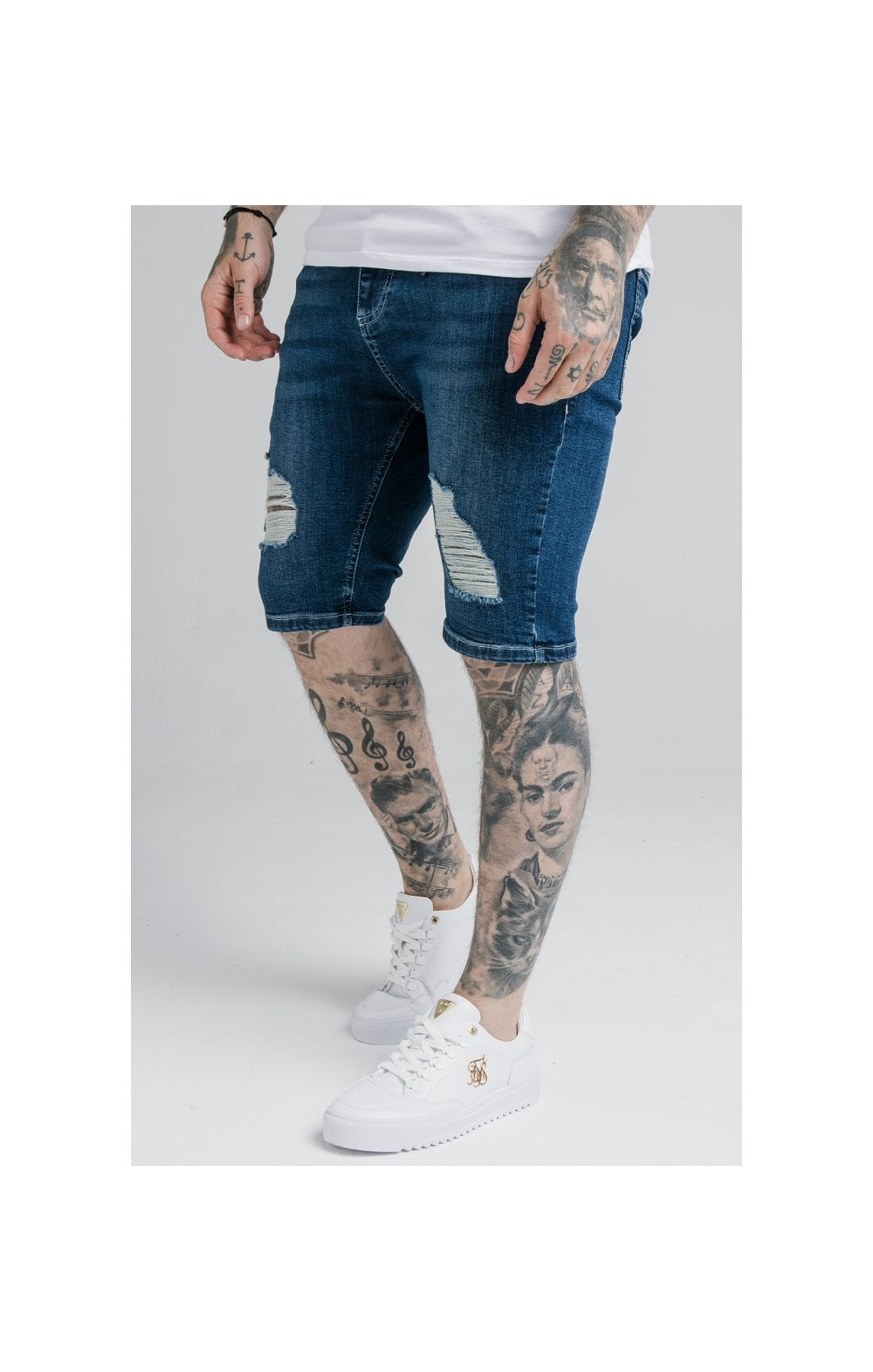 SikSilk Distressed Denim Shorts – Midstone