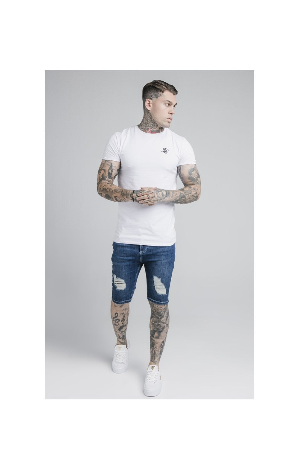 SikSilk Distressed Denim Shorts – Midstone (2)