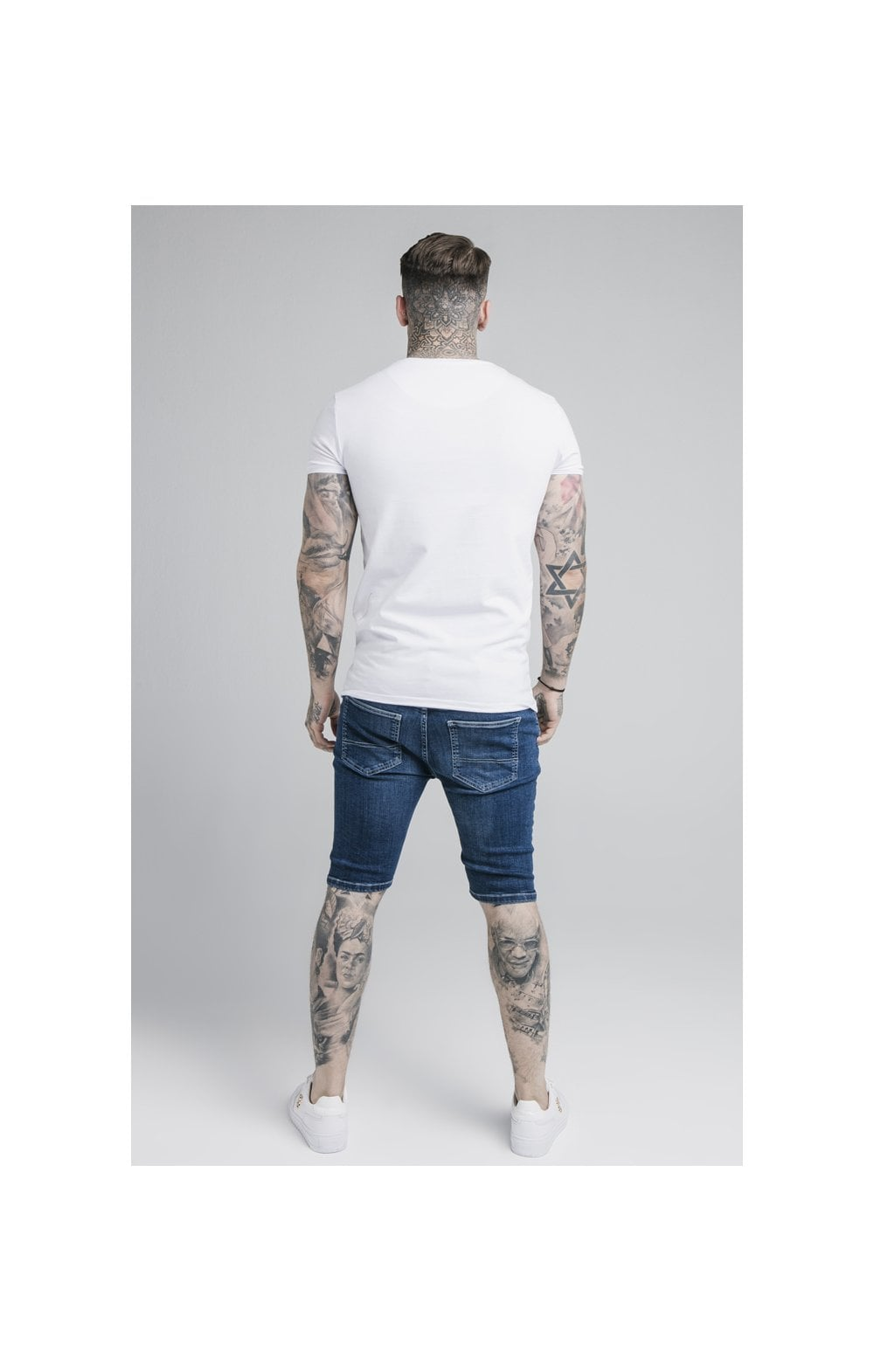 SikSilk Distressed Denim Shorts – Midstone (3)