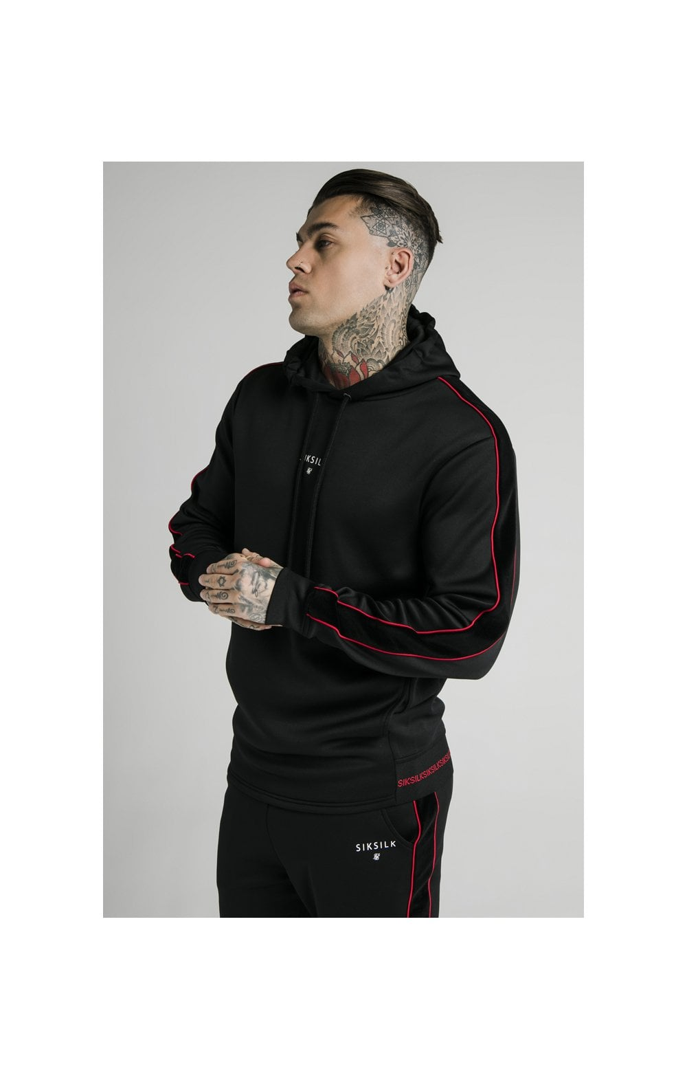 SikSilk Imperial Quarter Zip Hoodie - Black & Red