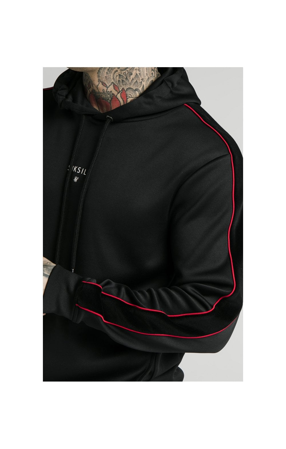 SikSilk Imperial Quarter Zip Hoodie - Black & Red (1)