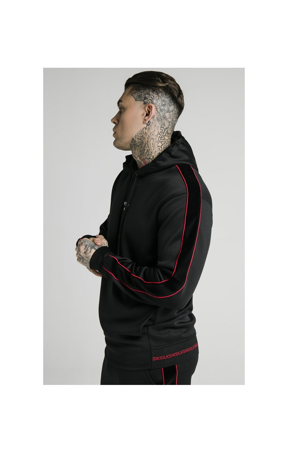 SikSilk Imperial Quarter Zip Hoodie - Black & Red (2)