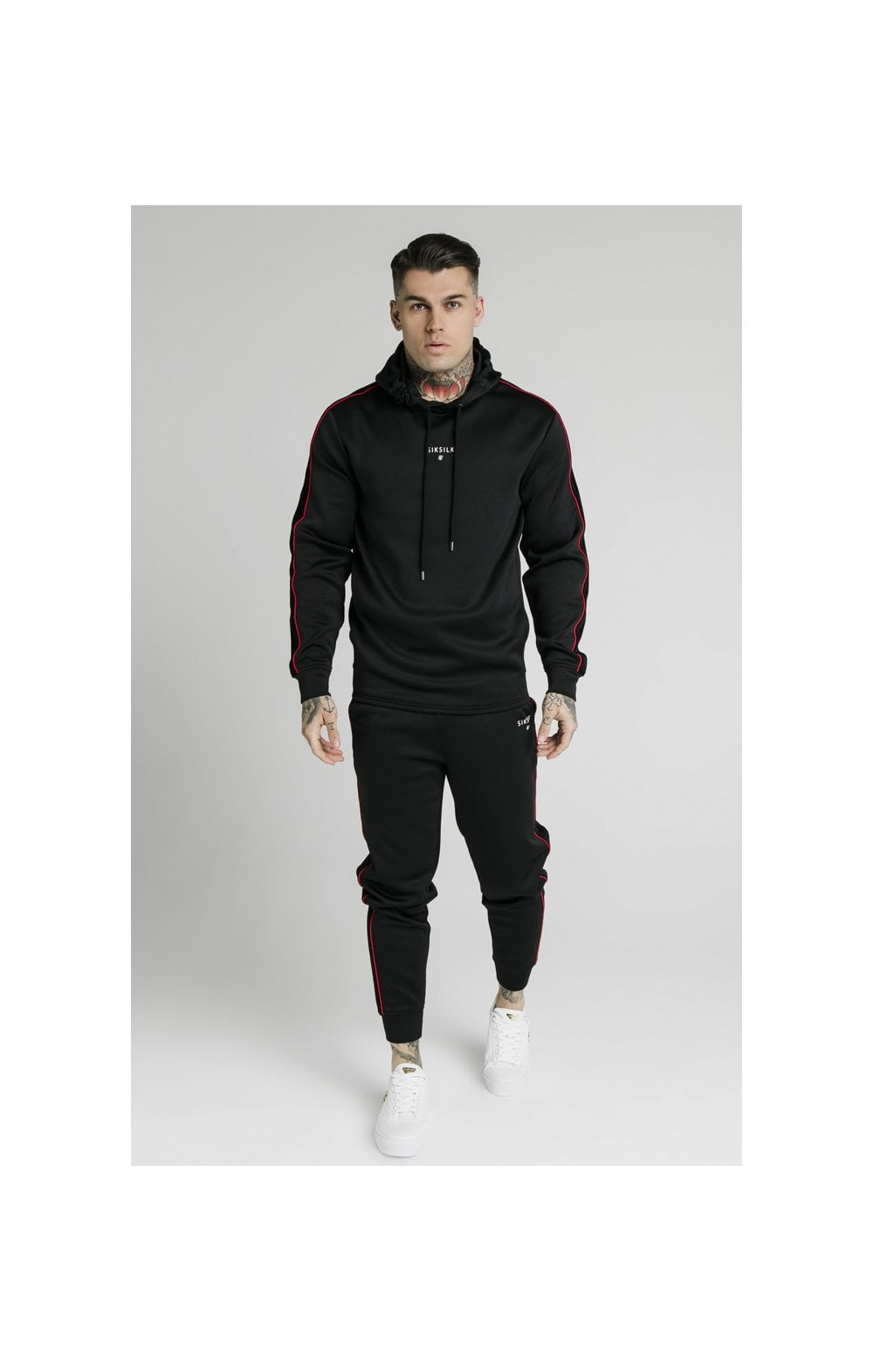 SikSilk Imperial Quarter Zip Hoodie - Black & Red (3)