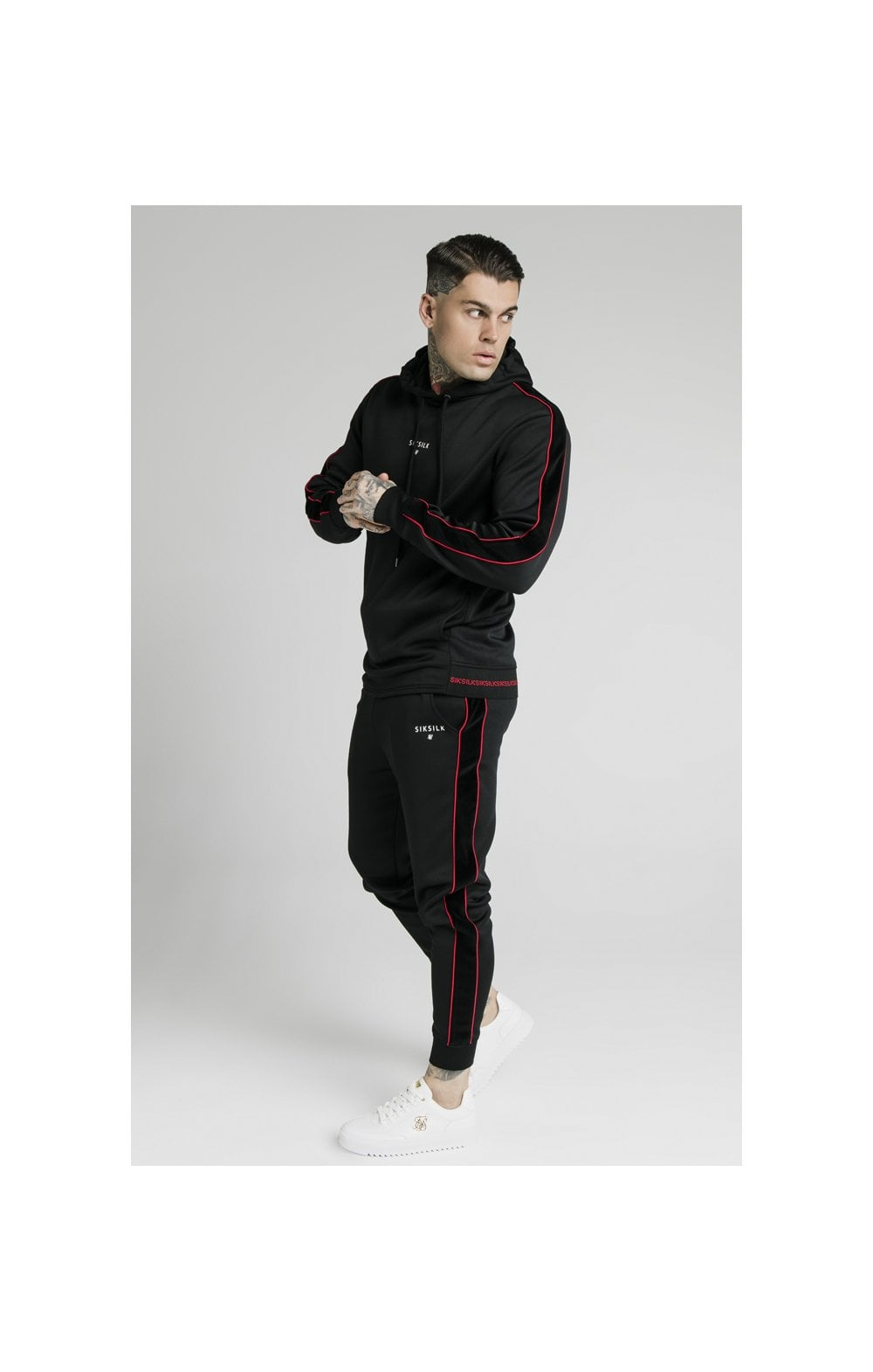 SikSilk Imperial Quarter Zip Hoodie - Black & Red (4)