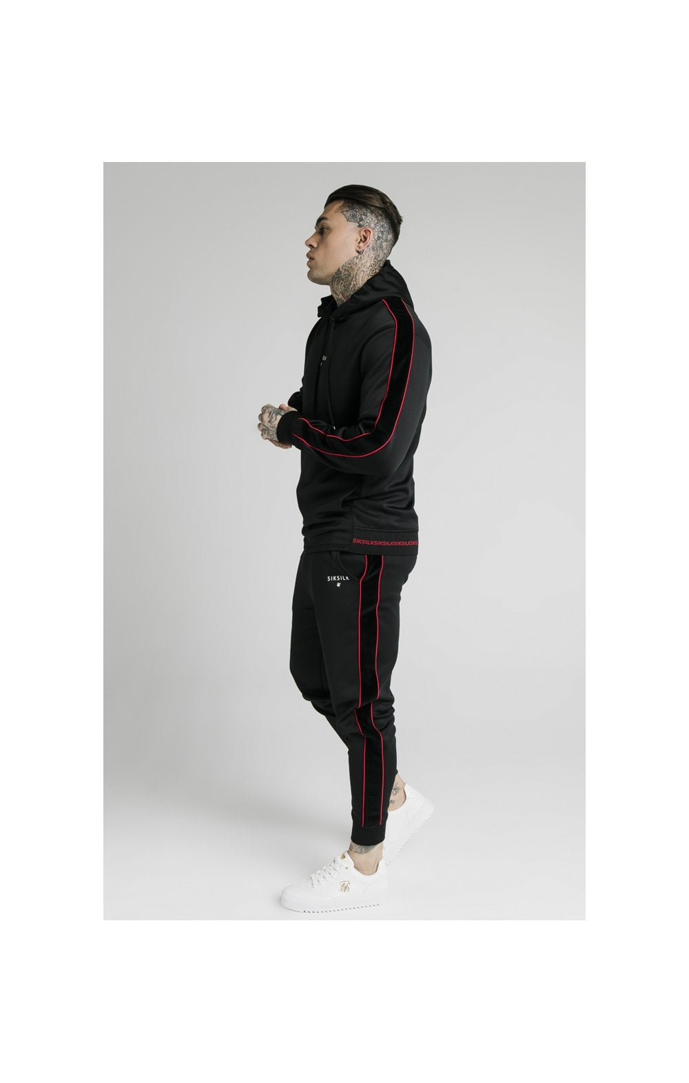 SikSilk Imperial Quarter Zip Hoodie - Black & Red (5)