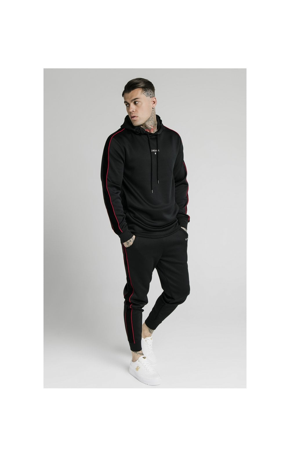 SikSilk Imperial Quarter Zip Hoodie - Black & Red (6)