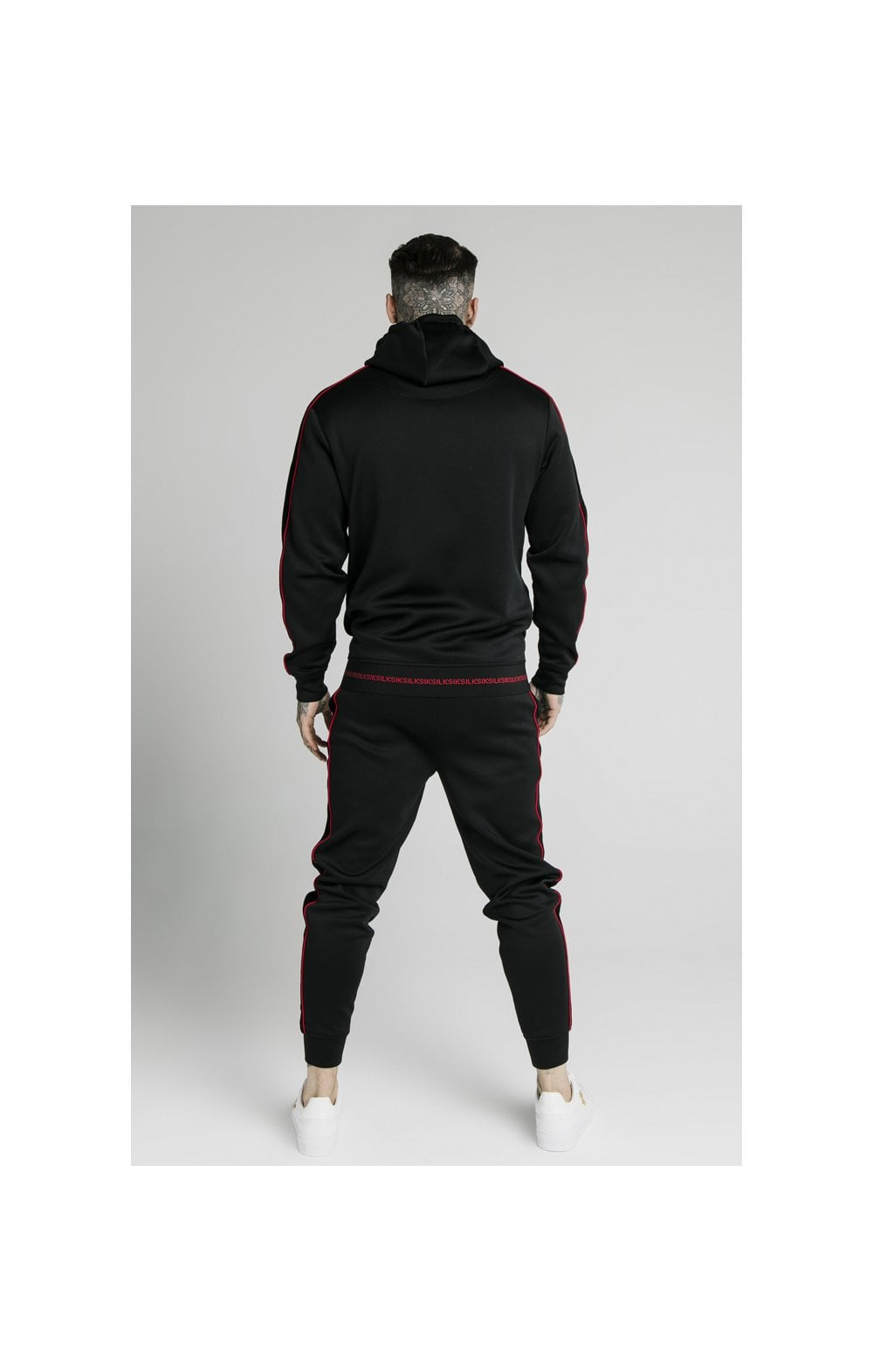 SikSilk Imperial Quarter Zip Hoodie - Black & Red (7)