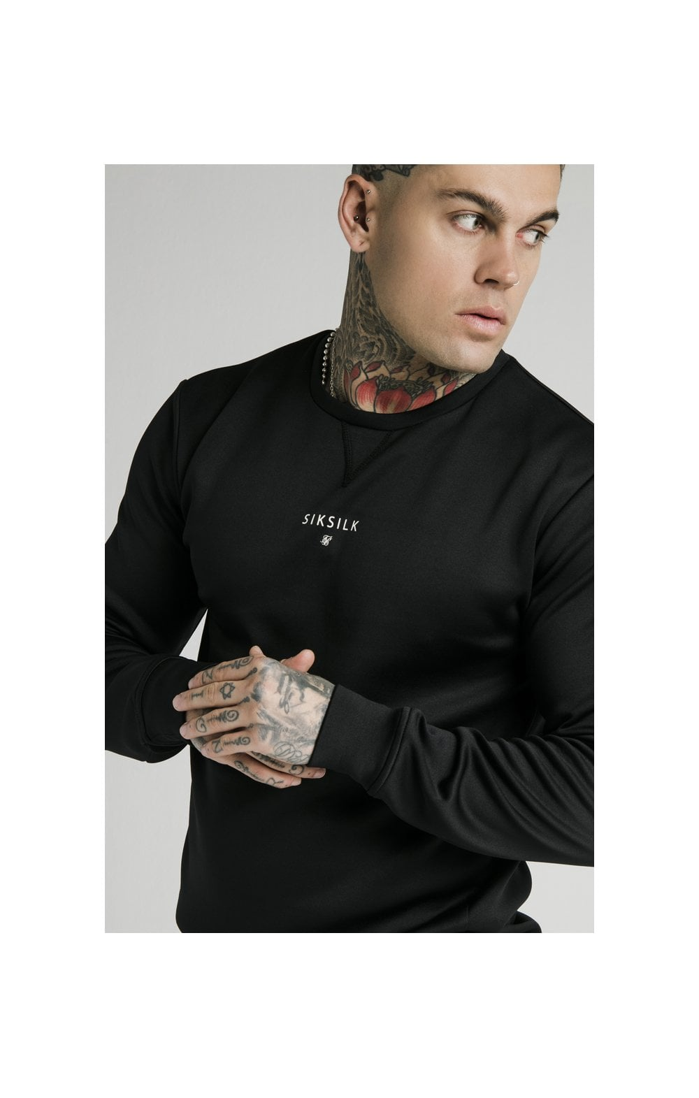 SikSilk Imperial Crew Neck Sweater - Black (1)