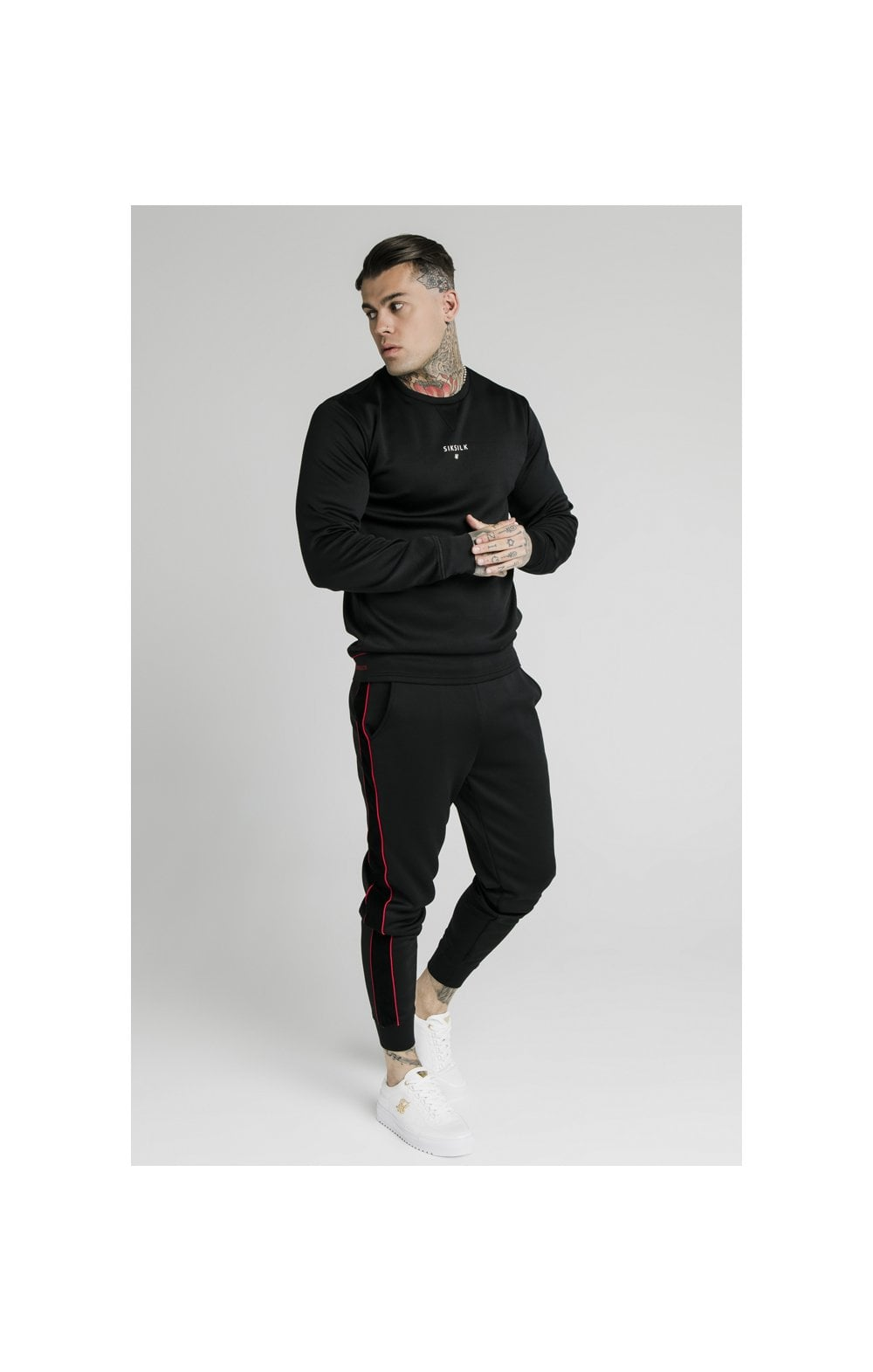 SikSilk Imperial Crew Neck Sweater - Black (3)