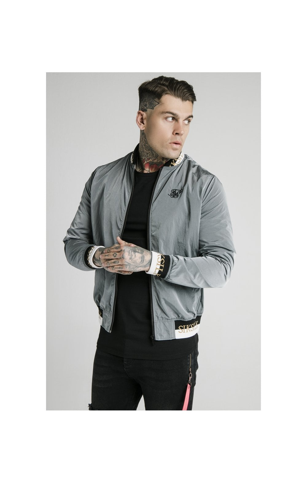 SikSilk Crushed Nylon Bomber Jacket - Grey