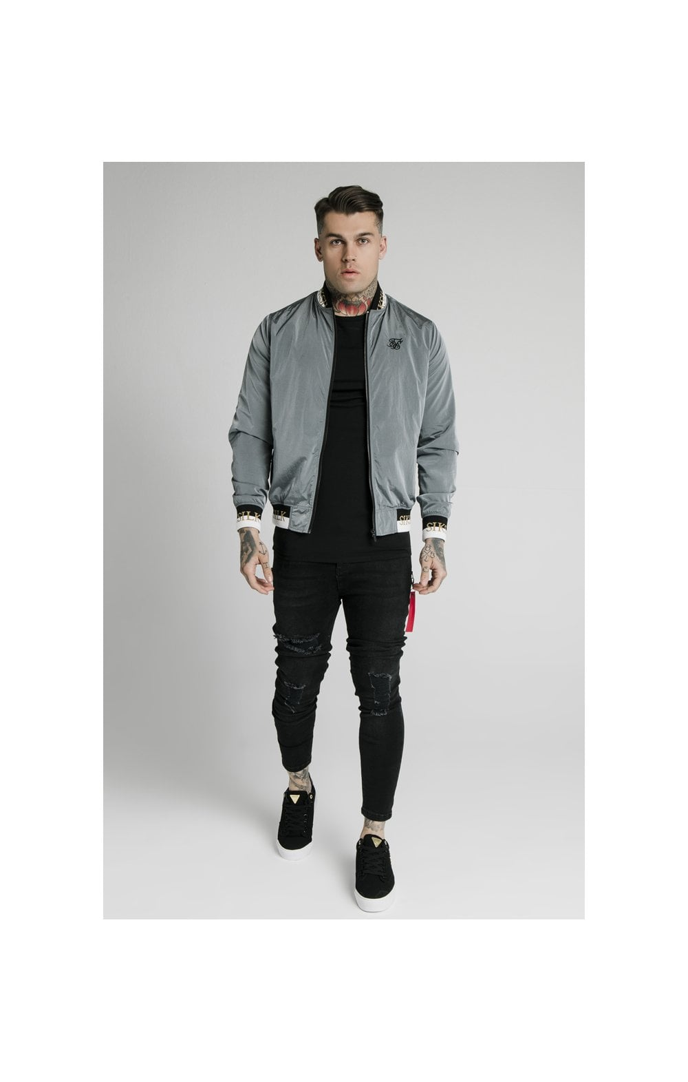 SikSilk Crushed Nylon Bomber Jacket - Grey (1)