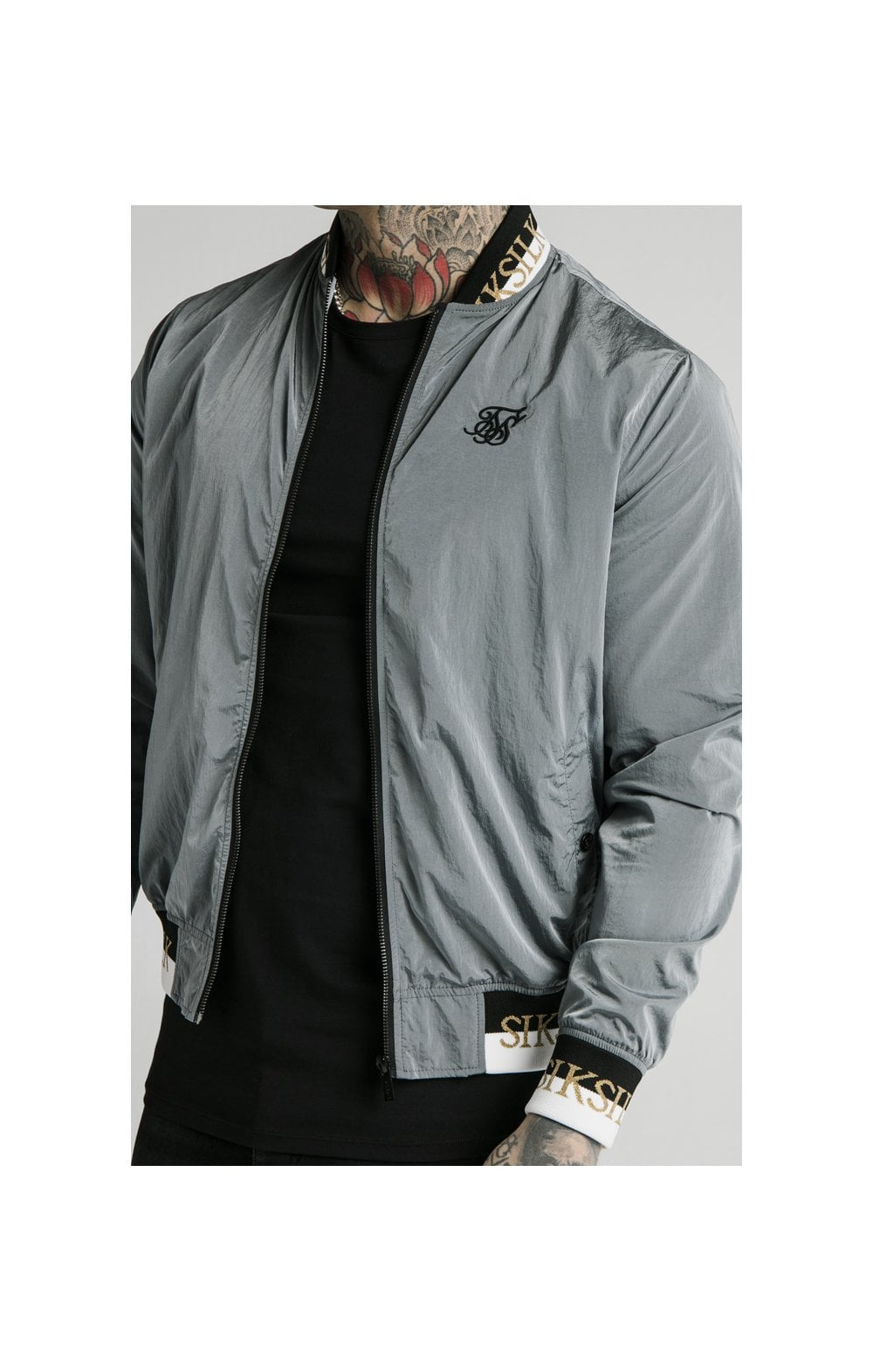 SikSilk Crushed Nylon Bomber Jacket - Grey (2)