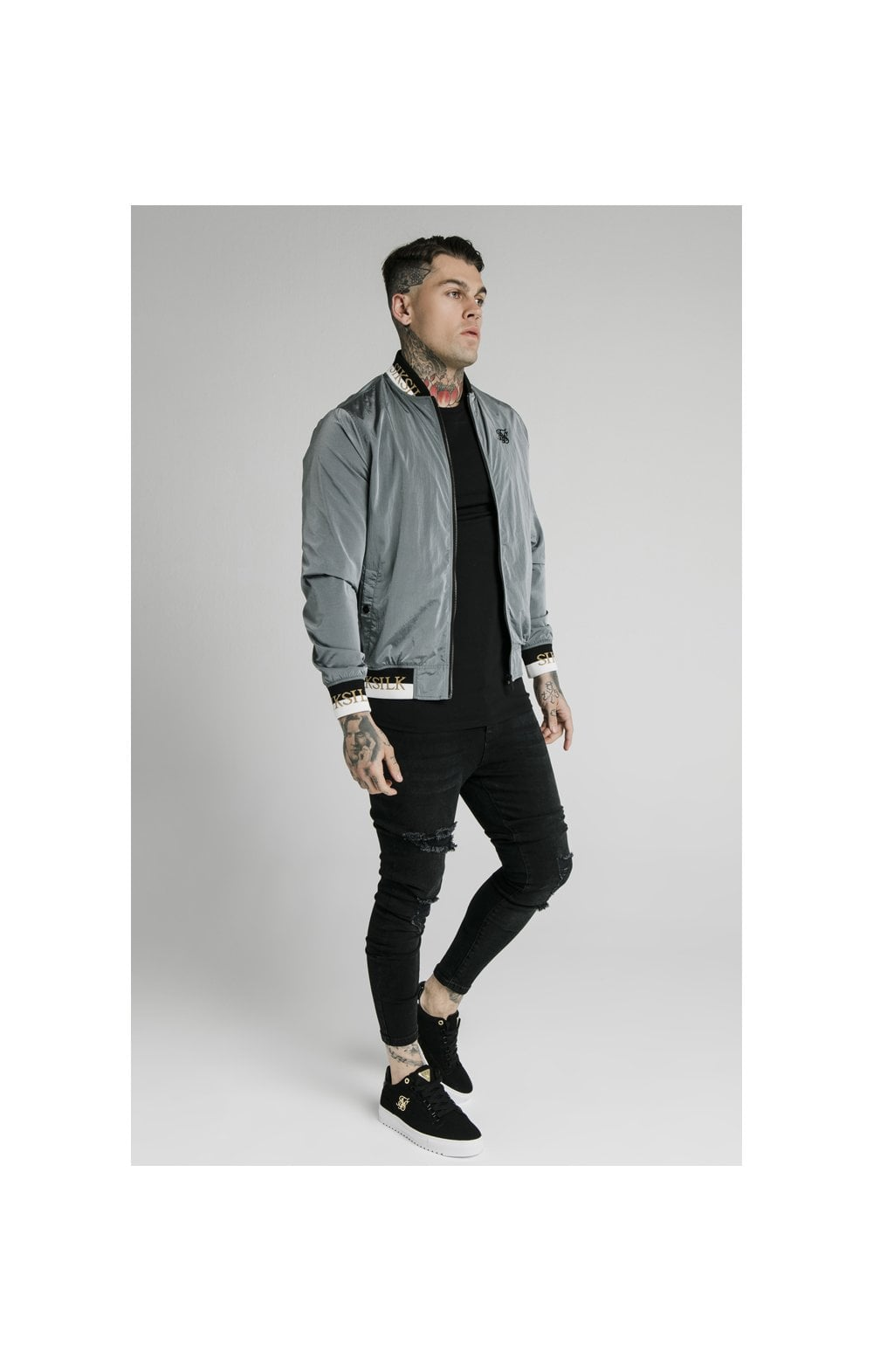 SikSilk Crushed Nylon Bomber Jacket - Grey (3)