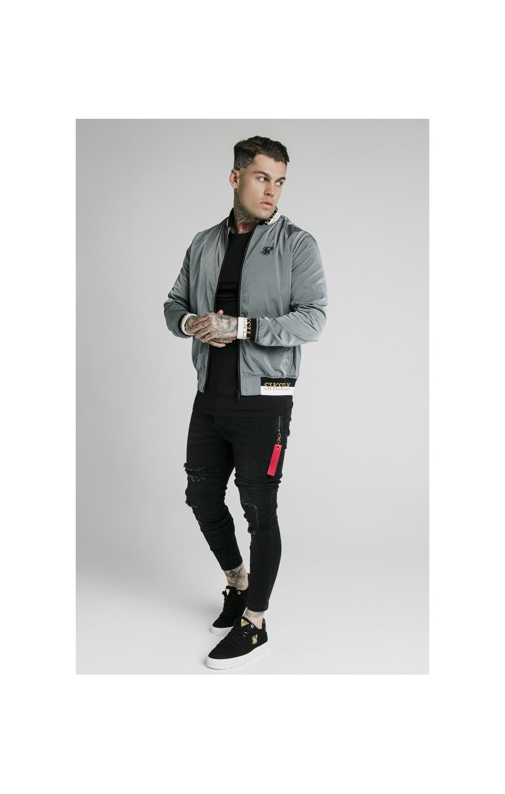 SikSilk Crushed Nylon Bomber Jacket - Grey (4)