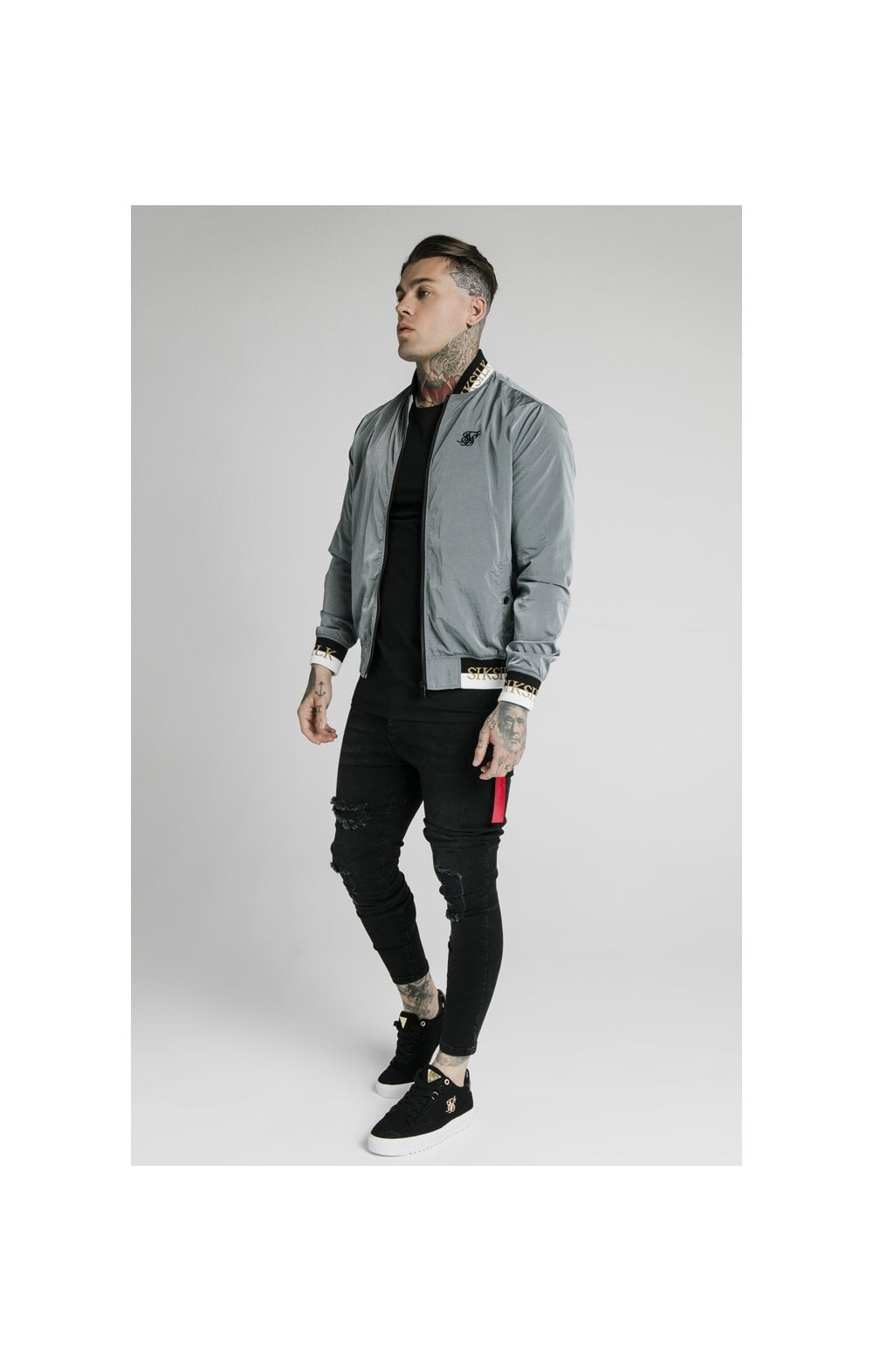 SikSilk Crushed Nylon Bomber Jacket - Grey (5)