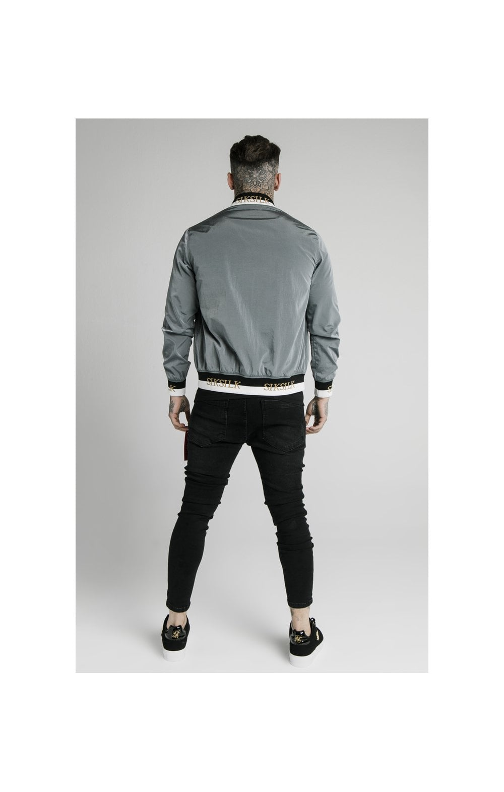 SikSilk Crushed Nylon Bomber Jacket - Grey (6)