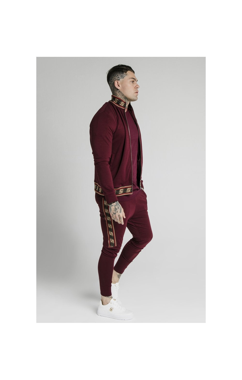 Load image into Gallery viewer, SikSilk Jacquard Retro Zip Through - Burgundy (2)