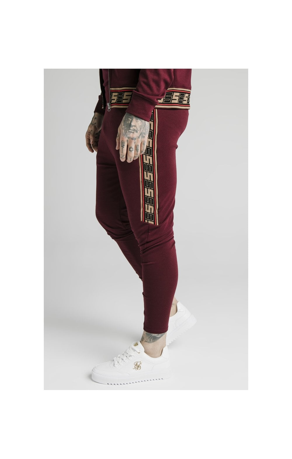 SikSilk Retro Jacquard Athlete Pants - Burgundy (2)