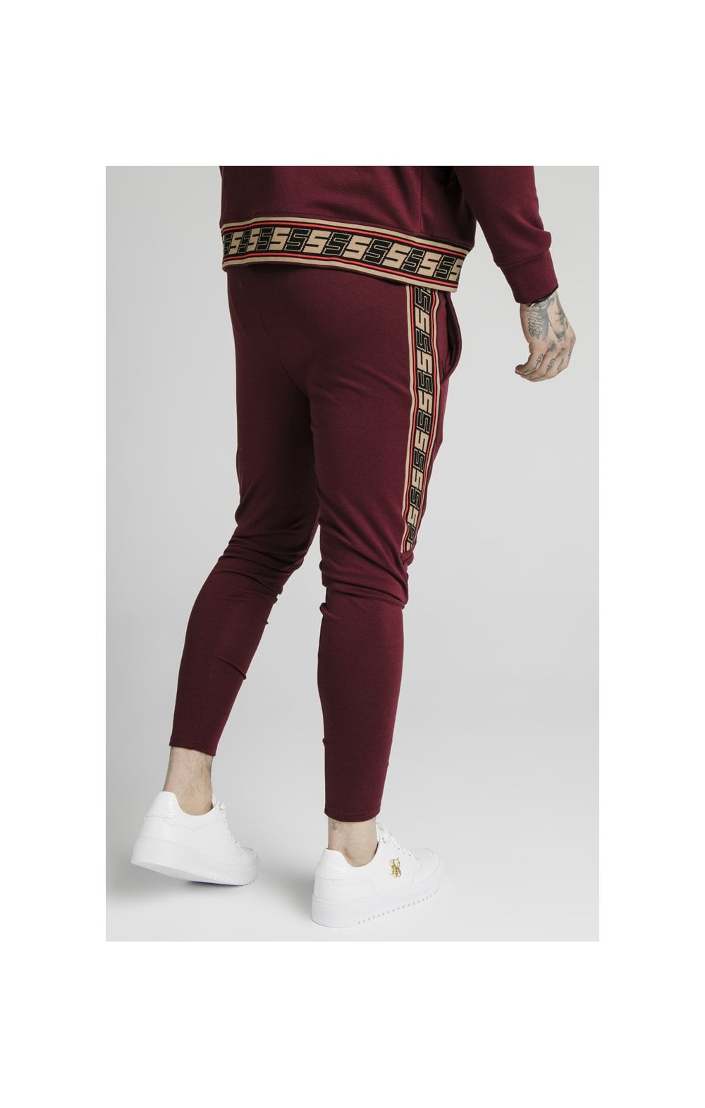 SikSilk Retro Jacquard Athlete Pants - Burgundy (3)