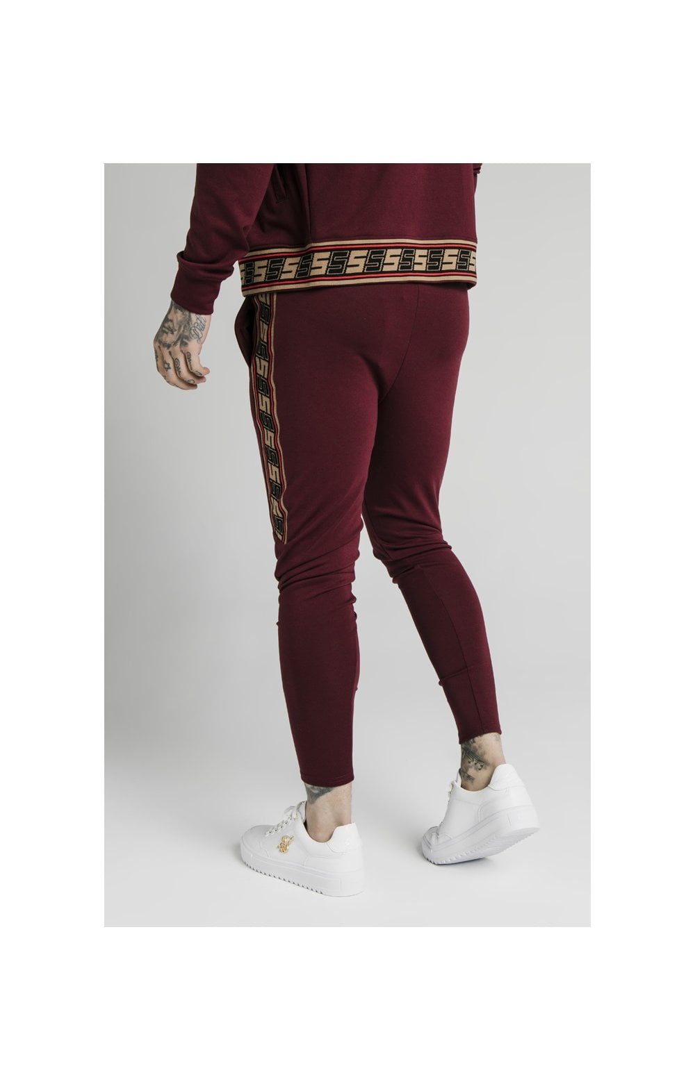 SikSilk Retro Jacquard Athlete Pants - Burgundy (4)