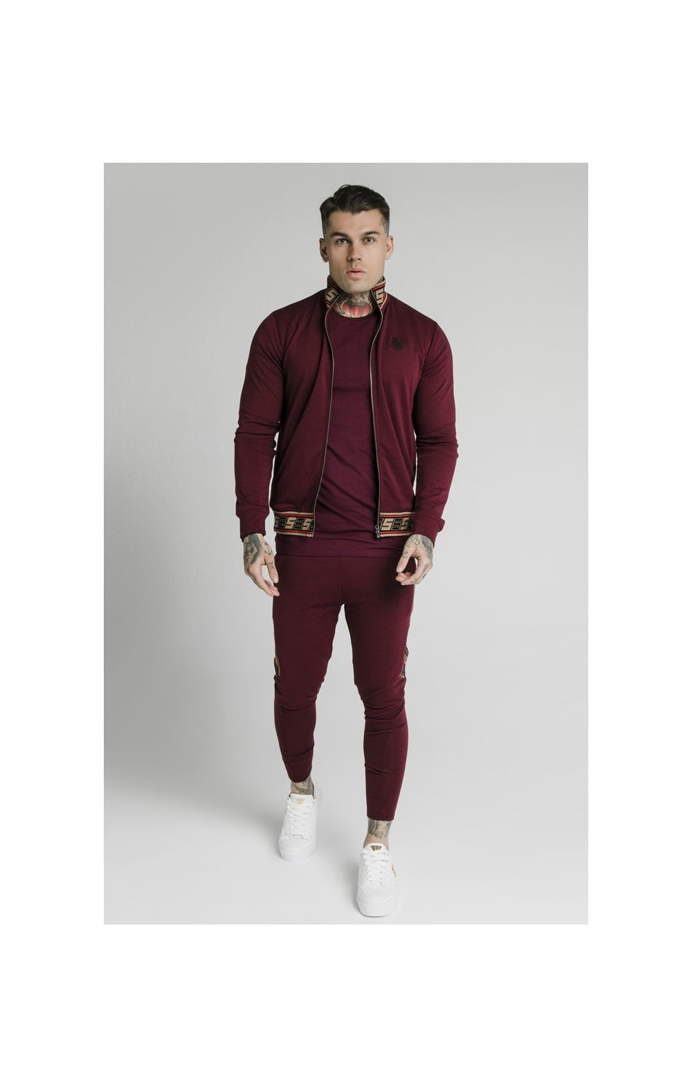 SikSilk Retro Jacquard Athlete Pants - Burgundy (5)
