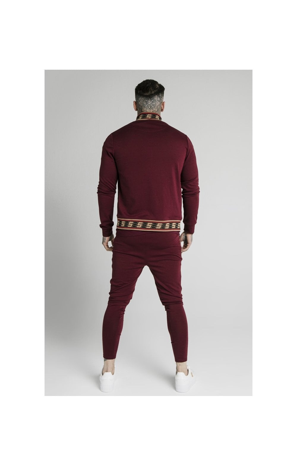 SikSilk Retro Jacquard Athlete Pants - Burgundy (6)