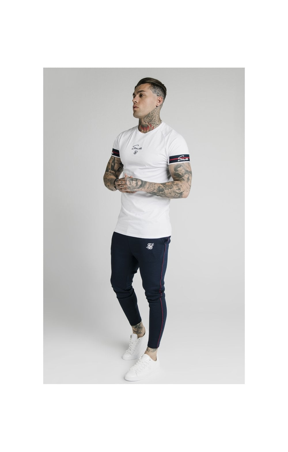 Load image into Gallery viewer, SikSilk Raglan Tech Tee Exposed Tape - White (2)