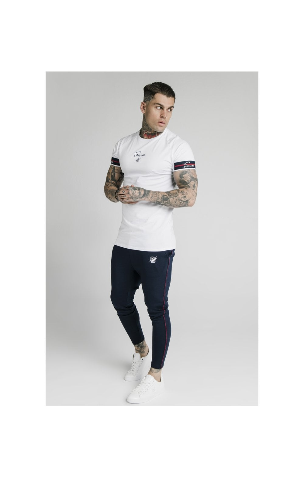 Load image into Gallery viewer, SikSilk Raglan Tech Tee Exposed Tape - White (3)