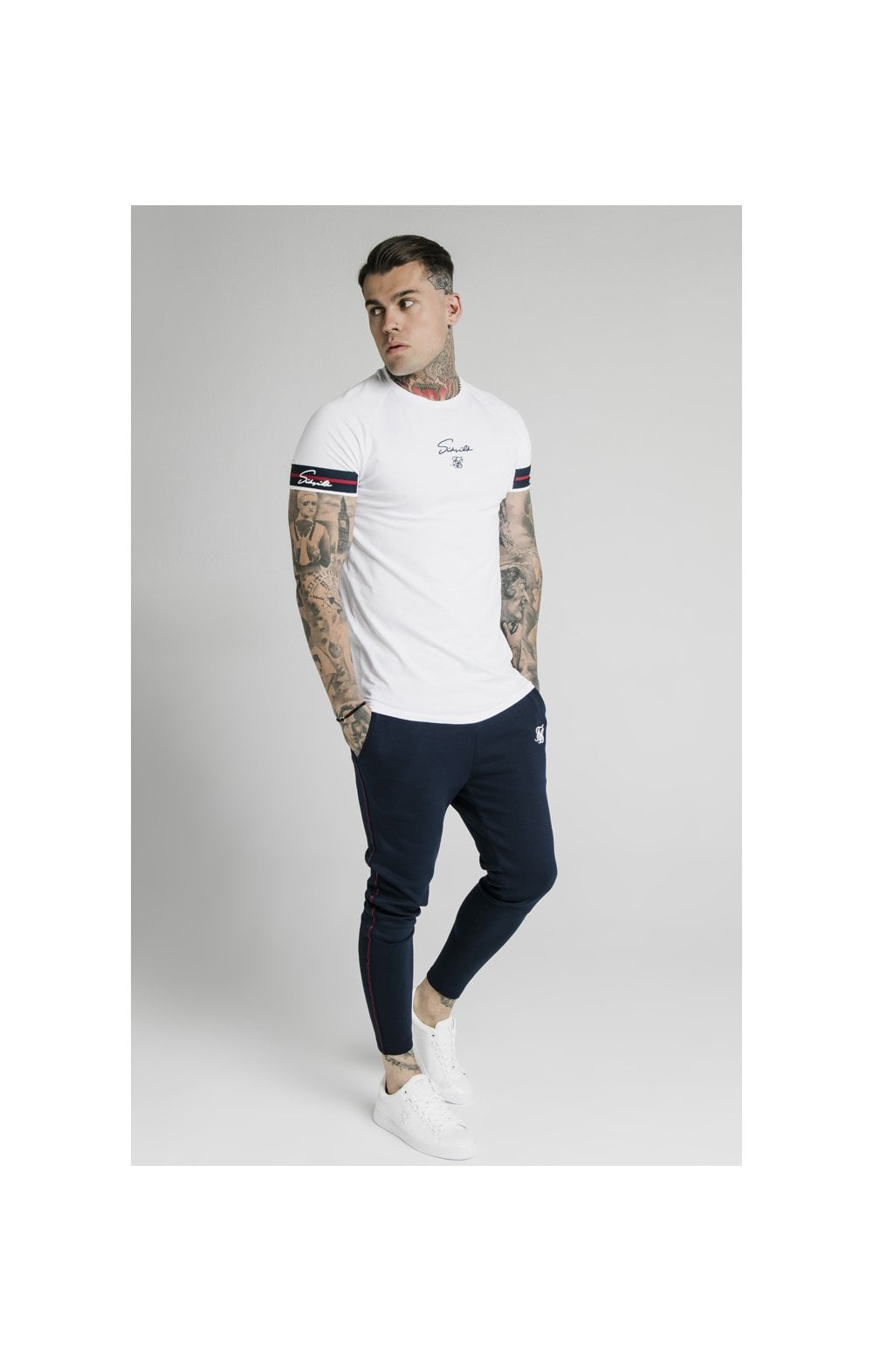 Load image into Gallery viewer, SikSilk Raglan Tech Tee Exposed Tape - White (4)